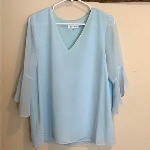 Calvin Klein light blue bell sleeve blouse
